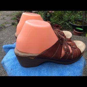 Dansko Dark Brown Leather Slide On Wedge Sandals
